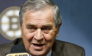 Former Boston Bruins president Harry Sinden speaks during a news conference where Cam Neeley was introduced as the team's new president Wednesday, June 16, 2010, in Boston. (AP Photo/Steven Senne)