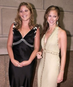 "Twin sisters Jenna, left, and Barbara Bush, daughters of President George Bush, arrive for the ""Next Generation"" post-convention party at Gotham Hall in New York on Thursday, Sept. 2, 2004. (AP Photo/Dean Cox)"